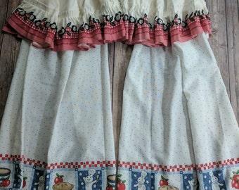 Vintage Kitchen Curtains & Valances Shabby Chic Cottage Farmhouse Decor Decor
