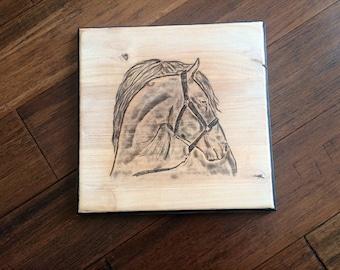 Wood Burned Art, Horse, Wall Decor, Wood Wall Decor, Art on Wood