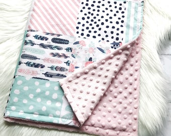 Feathers and floral baby blanket. Mint, pink, floral blanket, baby blanket, minky blanket