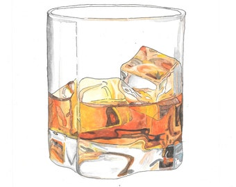 Glass of whiskey hand drawn watercolor illustration
