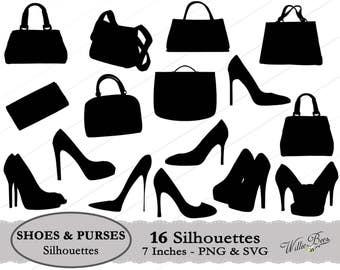 Shoe SVG, Purse SVG, Purses and Shoes, Handbags, High Heel Shoes, Dress Shoes, Shoulder Purse, High Heels, Cutting Machine, Instant Download