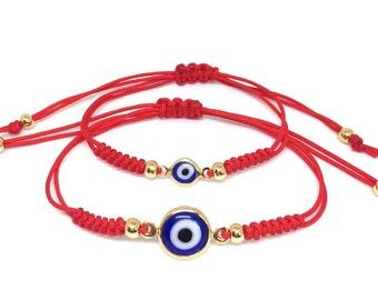 Mommy and me Bracelets, Waterproof bracelets, Red evil eye bracelets