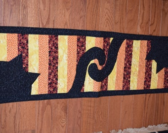 Halloween Table Runner, Black Cats, Table Topper, Holiday, Fall