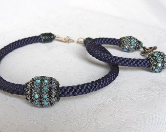 Blue set necklace bracelet, Blue jewelry set, Blue Crystal set, Blue necklace, Blue Crystal necklace, Blue bracelet, Blue jewelry gift set