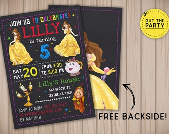 Princess Belle invitation, Princess Belle birthday invitation, Princess Belle chalkboard invitation, Princess Belle party invitation