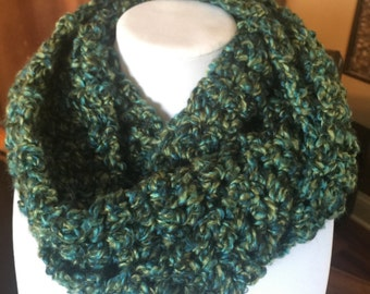 Super Soft and Ultra Warm Infinity Crochet Scarf Blue Green Multi Color