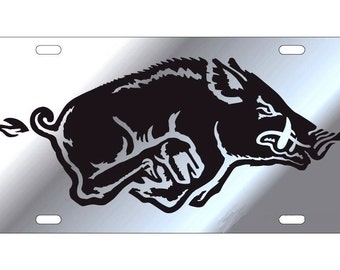 UNIVERSITY OF ARKANSAS Razorback Silver Mirrored License Plate / Tag, Free shipping