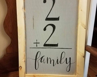 Distressed, Large, Grey-  2+2= Family  -Sign