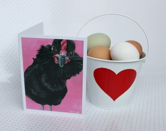 Funny Chicken Valentine's Day Card From Original Acrylic Painting, Anniversary Card