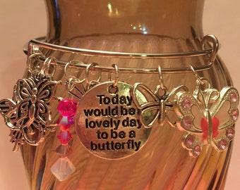 Lovely Day to be a Butterfly Charm Bangle Bracelet