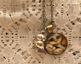 Owl Family Charm Pendant Necklace