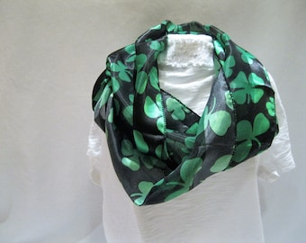 Black and Green Shamrock Scarf. Perfect for St. Patrick's Day