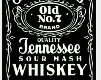 Jack Daniels logo label edible cake topper approx 18x11cm can be made smaller to your requirements