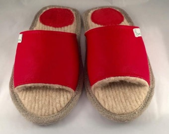 Women slippers, red slippers, leather slippers, wool slippers, slippers for women, open toe slippers, female slippers, women house shoes