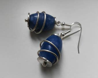 Earrings ~SATURNINI~ sterling silver and blue beads