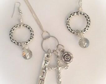 Vintage silver cross necklace set