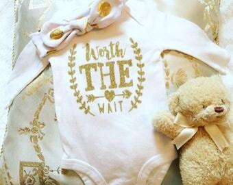 Worth The Wait Long Sleeve or Short Sleeve onesie for new baby newborn infant onesie