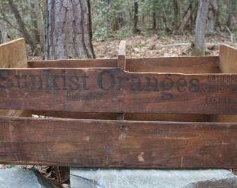 Antique Sunkist Crate - Old Wood Crate - Sunkist Naval Orange - Washington Navels - Old Advertising - Farmhouse Decor