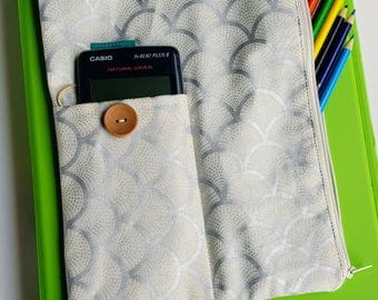 Stylish and unique pencil case for folders. Ideal for high school and college students. Gorgeous outer fabric and beautifully lined.