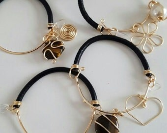 Leather Bracelet with 2 charms wire