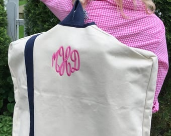 Monogrammed Canvas Garment Bag | Personalized Garment Bag | Embroidered | Graduation Gift | Father's Day | Mother's Day | Cotton Anniversary