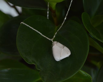 Triangular Howlite Sterling Silver Necklace