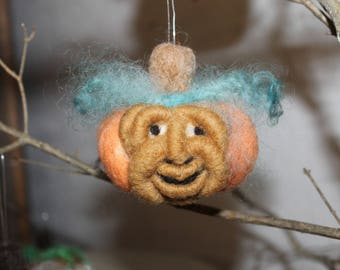 Halloween Funny Face Felted Pumpkin ornament