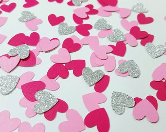 100 pcs Light Pink, Dark Pink, Silver/Gold Glitter Heart Confetti / Valentine's Day Confetti / Baby Shower / Bridal Shower / Girl Birthday