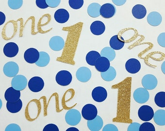 100 pcs Gold or Silver Glitter First Birthday Blue Confetti / 1st Birthday Party Decorations / Little Prince Decor / Baby Boy Birthday Party