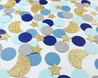 100 pcs STARRY NIGHT Inspired Confetti - Circles, Moons, Stars / Bridal Shower Decor / Wedding Decor / Starry Night Party Theme Decorations