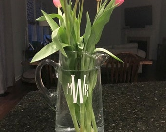 PERSONALIZED Monogrammed Glass Pitcher or Vase