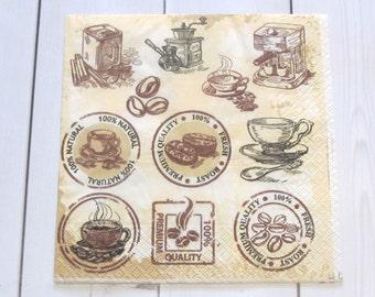 "Napkin ""Coffee 2"", Decoupage Napkins, Paper Napkins for Decoupage, Deer Napkins"