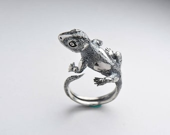 Lizard silver ring, Gecko ring, Lizard jewelry, Gecko fashion, animal jewelry, animal ring, Lizard silver, Reptile sterling Ring