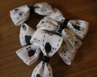 Childrens Hair clip- Black and white sheep design