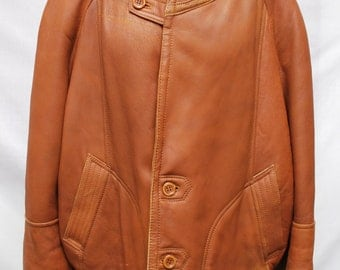 Vintage Leather Bomber Aviator Jacket Size XL