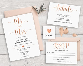 SALE 30% OFF Rose Gold Wedding Invitation Suite Template, Printable Wedding Invitation Set Mr and Mrs Wedding Invitations Caligraphy Invites