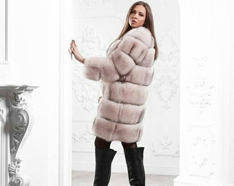 Pink arctic fox fur coat Horizontal fur coat Real Finland fur Fox coat horizontal striped fur Natural fox fur short coat Layerd Striped