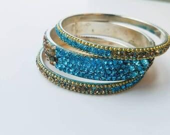 Crystal bracelet set of three, India, Bollywood bracelet, Bollywood bangle, Size Size 2.6
