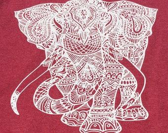 Mandala Heathered Elephant Shirt