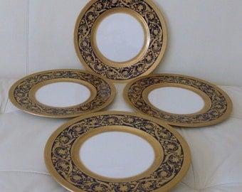 4 Lenox Cobalt & Gold Encrusted Antique Dinner Plates c1906-1930