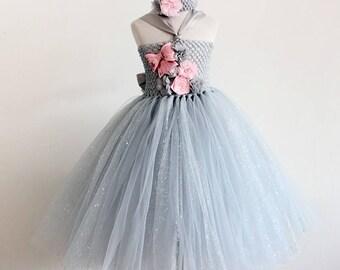 Baby girls Tutu dress flowers dress with flower headband, Birthday, Photoshoots,Wedding
