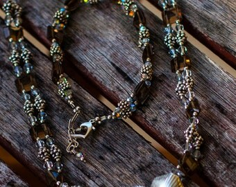 Smoky Quartz, Swaroiski Crystals & Bali Silver Choker
