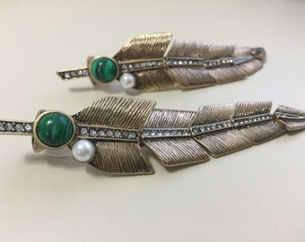 Feather green natural stone drop earrings