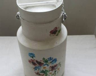French mini milk urn..delightfully hand painted with floral theme.