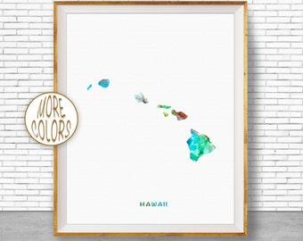 Hawaii State Hawaii Decor Hawaii Print Hawaii Map Art Print Map Artwork Map Print Map Poster Watercolor Map ArtPrintZone