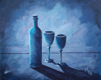 wine bottle and glasses. an original acrylic painting in blue