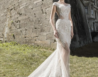 Wedding dress, open back wedding dress, custom-made wedding dress, wedding gown, wedding dress, wedding gown with tulle, wedding dress Lace