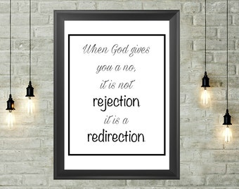 God's Redirection Quote Printable 8x10, Instant Download