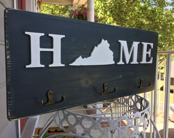Rustic Home State Cutout Key Holder Rack