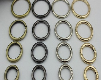 6 pcs inner 16mm gold silver spring ring clasp round split key ring  gate ring O rings D ring